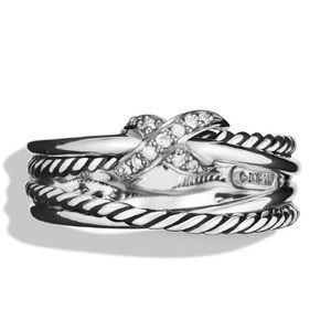 David Yurman X Ring with diamonds